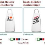 Sushi Kochschürzen, tragen was man gerne isst