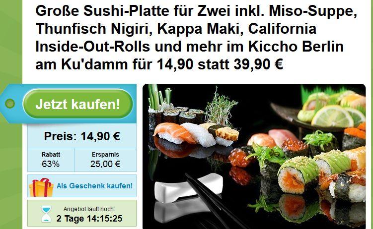Sushi Deal Berlin: Kiccho Sushi Berlin große Sushi Platte für 2 am Kudamm