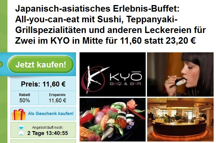 Sushi Deal Berlin: All-you-can-eat beim Kyo Sushi Restaurant Berlin Mitte für 11,60€