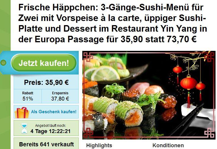 Sushi Deal Hamburg: 3-Gänge Sushi Menü für 2 im Yin Yang Hamburg für nur 35,90€