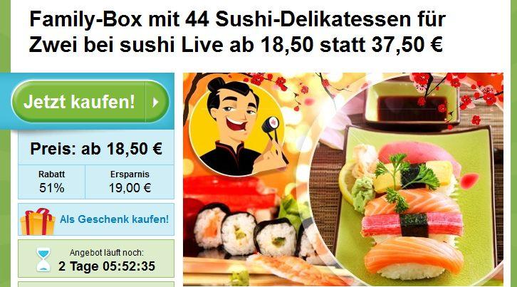 Sushi Deal Frankfurt: 44 Sushi-Delikatessen für Zwei bei sushi Live ab 18,50 statt 37,50 €