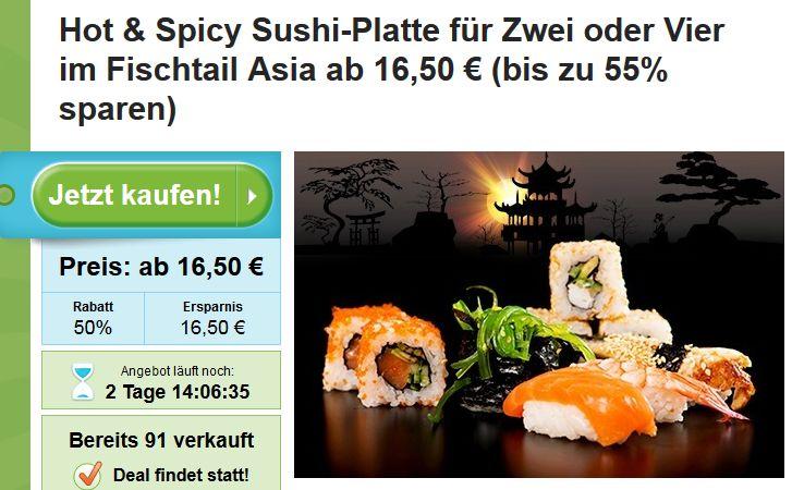 Sushi Special Hamburg: Sushi Deal Hot & Spicy Sushi-Platte für Zwei oder Vier im Fischtail Asia ab 16,50 €