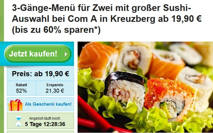 Sushi Menü Deal Berlin: 3 Gänge Menü für bis zu 6 Personen in Berlin Kreuzberg